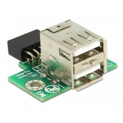 DELOCK Αντάπτορας USB 2.0 9 pin header(F) σε 2x USB 2.0A (F), 2.54 mm