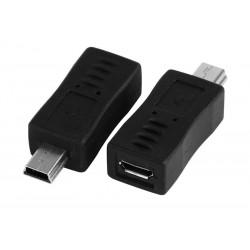 PΟWERTECH Αντάπτορας USB Micro AB (F) σε USB Mini (M), μαύρο