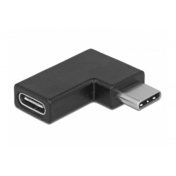 POWERTECH Adapter USB 3.1 Type-C male σε female, 90° left/right, μαύρο