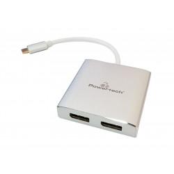 POWERTECH Converter Type-C σε 2x DisplayPort 1.2 CAB-UC034, 4K 60Hz