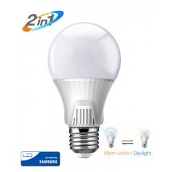 POWERTECH LED Λάμπα Bulb 2 σε 1, 9W, 3000K & 6500K, E27, Samsung LED, IC