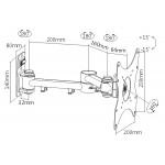 """BRATECK επιτοίχια βάση LCD-151A, για οθόνη 23-42"""", 20kg"""