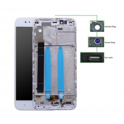 LCD για Xiaomi Redmi A1, Camera-Sensor ring, ear mesh, με frame, White