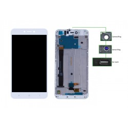 LCD για Xiaomi Note 5A, Camera-Sensor ring, ear mesh, frame, White