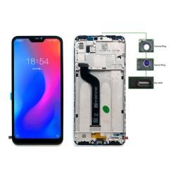 LCD για Xiaomi Redmi 6 Pro, Camera-Sensor ring, ear mesh, frame, μαύρη