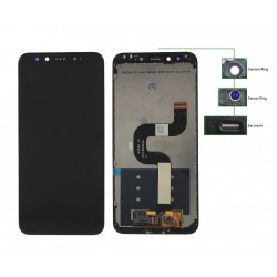 LCD για Xiaomi Redmi A2, Camera-Sensor ring, ear mesh, frame, μαύρη