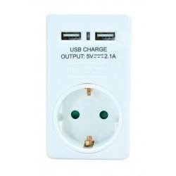 POWERTECH Αντάπτορας ρεύματος schuko PT-767, 2x USB, λευκός