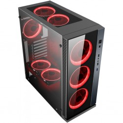 POWERTECH Gaming case PT-903, tempered glass, 4x Dual ring RGB fans