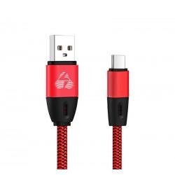 POWERTECH Καλώδιο USB σε Type C eco flat PTR-0038 copper, 1m, κόκκινο