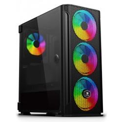 SADES PC case YU mid tower 396x210x453mm, 4x fan, διάφανο πλαϊνό, μαύρο