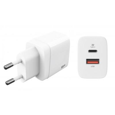 SILICON POWER φορτιστής τοίχου QM15, USB & USB Type-C, QC3.0 18W, λευκός