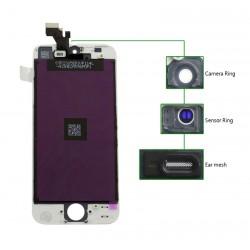 TIANMA High Copy LCD για iPhone 5S, Camera-Sensor ring, ear mesh, White