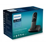 PHILIPS ασύρματο τηλέφωνο XL4951DS/34 ελληνικό μενού, τηλεφωνητής, μαύρο