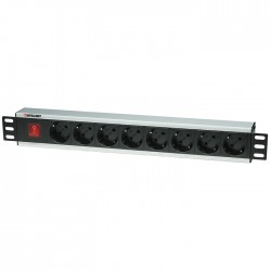 """INT 207157 19"""" POWER STRIP 8 SOCKETS GERMAN TYPE WITH SWITCH BLACK"""
