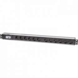 "INT 711449 19"" POWER STRIP 12 SOCKETS GERMAN TYPE WITH SINGLE AIR SWITCH BLACK"