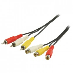 VLVP 24305B 5.00 Composite Video Cable 3x RCA Male - 3x RCA Female 5.00 m Black