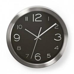 NEDIS CLWA010MT30BK Circular Wall Clock, 30 cm Diameter, Black & Stainless Steel