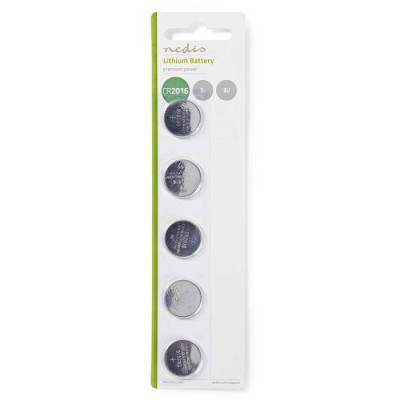 NEDIS BALCR20165BL Lithium Button Cell Battery CR2016, 3V, 5 pieces, Blister