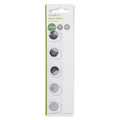 NEDIS BALCR16165BL Lithium Button Cell Battery CR1616, 3V, 5 pieces, Blister