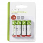NEDIS BANM13HR64B Rechargeable Ni-MH Battery AA, 1.2V, 1300 mAh, 4 pieces, Blist