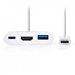 NEDIS CCGP64765WT02 USB-C Adapter, USB C Male - USB A Female+USB C Female+HDMI F