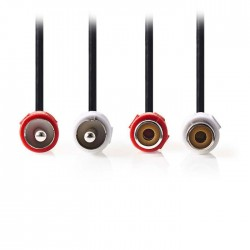 NEDIS CAGP24205BK50 Stereo Audio Cable, 2x RCA Male - 2x RCA Female, 5m, Black