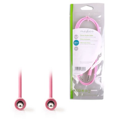 NEDIS CAGP22005PK10 Stereo Audio Cable, 3.5 mm Male - 3.5 mm Male, 1m, Pink