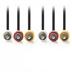NEDIS CVGP24300BK100 Composite Video Cable 3x RCA Male-3x RCA Male,10 m,Black