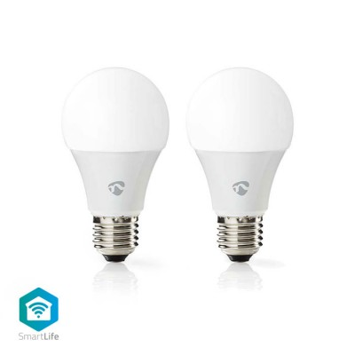 NEDIS WIFILC20WTE27 WiFi Smart LED Bulbs Full Colour and Warm White E27 2 pack