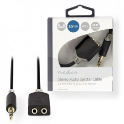 NEDIS CABW22100AT02 Stereo Audio Cable 3.5 mm Male - 2x 3.5 mm Female 0.2 m Anth