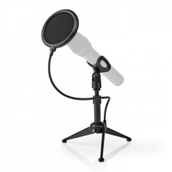 NEDIS MPST01BK Microphone Table Tripod Adjustable Height Pop Filter 2 Holders In