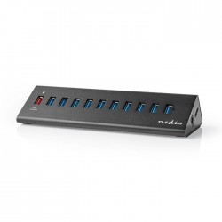 NEDIS UHUBUP31110BK USB Hub 11-Port QC3.0 / USB 3.2 Gen1 Mains Powered / USB Pow